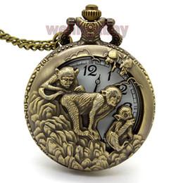 Wholesale Bronze monkey Hollow Quartz Pocket Watch Necklace Pendant Womens Men GIfts P246