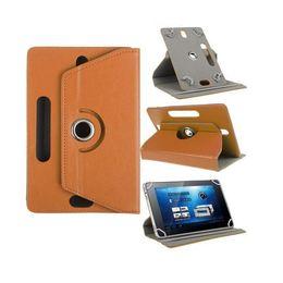 Soportar pulgadas en venta-2017 Fundas universales para Tablet Caja giratoria de 360 grados 10 Cubierta de cuero para estantes 7 8 9 pulgadas de pliegue Flip Covers incorporado en la hebilla para Mini iPad