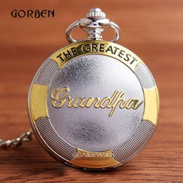 Wholesale Luxury Gold Bronze Quartz Watch THE GREATEST Grandpa Pocket FOB Watch Chain Necklace Gifts for Grandfather Relogio De Bolso