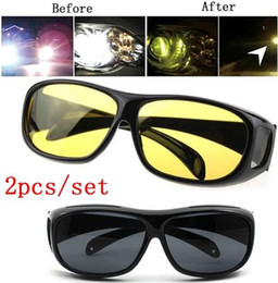 Canada 2Pcs / Set Fashion Cars Driving Lunettes de soleil HD Vision nocturne Lunette jaune Over Wrap Around Unisex Glasses Offre