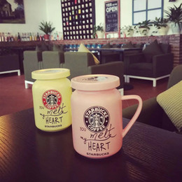 Wholesale Pastoral style Spring Starbucks Artistic Coffee mug ml color flower ceramic Milk cup with cover can leave message gift for girl