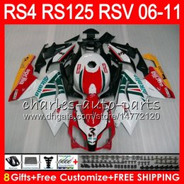 Body For Aprilia RS4 RSV125 RS125 06 07 08 09 10 11 RS125R RS-125 70HM11 RSV 125 RS 125 2006 2007 2008 2009 2010 2011 Fairing Kit Red white