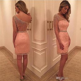 Wholesale Shiny Silver One Sleeve Dress - Short Special Occasion Sheath Cocktail Dresses One Shoulder Custom Size Modern See Through Shiny Crystal Beadings Hot Sale Fashion