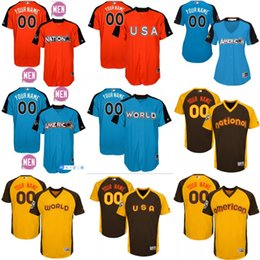 custom Men's YOUTH WOMEN National League American League world usa Brown gold Personalized 2016 2017 All-Star Game baseball Jersey S-4XL