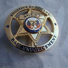 Wholesale American US FUGITIVE RECOVERY AGENT BAIL ENFORCEMENT METAL BADGE Diameter cm Collection Badge Halloween Cosplay Badge
