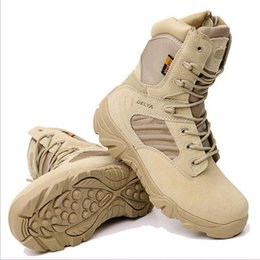 Wholesale Outdoor Military Boots Men s Special Forces Combat Boots Winter Tactical Boots Desert Hiking Shoes Delta High Wear Resistant Marine Warfare