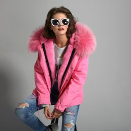 Wholesale Woman army green Large raccoon fur collar hooded coat parkas outwear in detachable lining winter jacket brand style