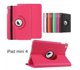 Mélanger le cas de mode en Ligne-Pour Apple iPad mini 2 3 4 Case Lichee Pattern Case Fashion 360 ° Rotation PU étuis en cuir pour ipad5 Air1 Air2 Case 50PCS OPP Bag