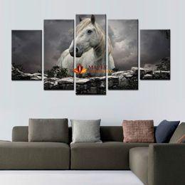 2017 окрашенная лошадь 5 Панели White Horse Печать на холсте, настенной живописи современного искусства Большой холст картины для украшения дома искусства стены Печать холст бюджет окрашенная лошадь