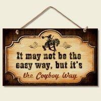 Promotion panneaux de cowboy New Funny Cowboy WAY Sign Western Plaque Decor Horse Accent ART Faux Vintage Ancien 5.6