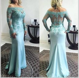 2017 Plus Size Blue Lace Mother Of The Bride Dresses Off Shoulder Long Sleeve Wedding Groom Dresses Formal Wear Evening Party Gowns