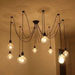 Edison Design Pendant Light DIY RH Loft American Country Industrial Edison Vintage Ceiling Lamps Home Chandelier Light Spider Pendent Lamps
