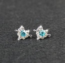 Wholesale South Korea small jewelry diamond heart earrings love Butterfly Earrings female temperament simple cheap a package mail