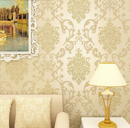 Wholesale Silver Wallpaper Wholesale - Wholesale-Italian Style Modern 3D Embossed Background Wallpaper For Living Room Silver And Cremay white Wallpaper Roll Desktop Wallpaper