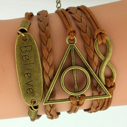 Wholesale Europe and the United States around the jewelry Potter Harry triangle words Believe multi element multi layered Bracelet