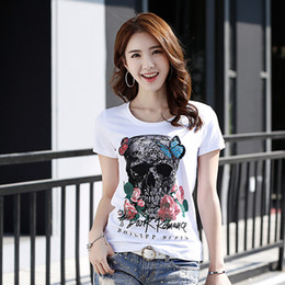 2017 new women's T-shirt rose person cranial head personality manual female T-shirt with short sleeves round collar small unlined upper garm