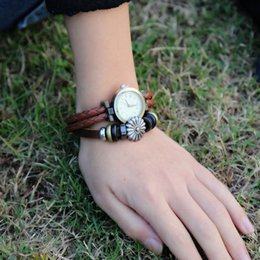 wholesales Cowhide Bracelet Watch Vintage Beaded table Wrist jewelry length 21.5CM width 1.2CM for lovers Fashion Bracelet Watch