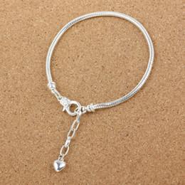 Descuento broches para los encantos Pulsera de corchete de langosta cadena de serpiente de 3MM plata de ley 925 plateado estilo europeo joyas de moda para el encanto de Pandora