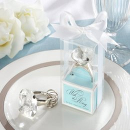 """(50pcs Lot FREE SHIPPING by UPS,DHL,Fedex )""""With This Ring"""" Engagement Ring Keychain in Blue Gift Box Wedding&Bridal Shower Favors For Guest"""