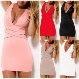 Wholesale Ebay hot summer five new color yards bandage dress sexy club couture v neck cultivate one s morality