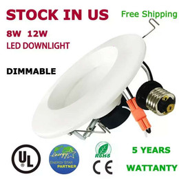 USA stock Dimmable Recessed Downlights 8W 12W for Indoor use aluminum Material Energy-star cUL UL 4'' 6'' White led downlights AC110-240V