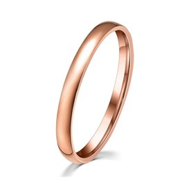 50% Off ! High Quality Jewelry Factory Prices 3mm Width Round Band Rings IP Rose Gold Plated Stainless Steel Engagement Ring Fashion Brand
