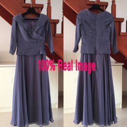 Real Image Modest Mother of the Bride Dress with Sleeves A Line V Neck Ruched Top Mother's Dresses Ankle Length Navy Blue