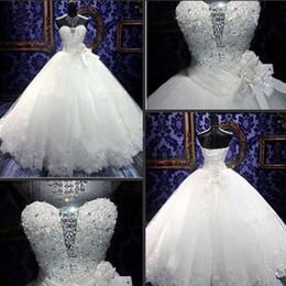 Luxury Bling Bling Ball Gown Dresses Puffy Exquisite Crystals Sequins Beads Sweetheart Lace up Back Wedding Bridal Dress Lace Appliques