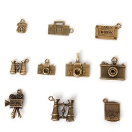 Wholesale Hot Vintage Charms Mixed Phone and Camera Pendant Antique bronze Fit Bracelets Necklace DIY Metal Jewelry Making
