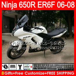 8Gifts 23Colors Body For KAWASAKI NINJA 650R ER6F 06 07 08 Ninja650R black white 20HM23 ER 6F 06-08 ER6 F ER-6F 2006 2007 2008 Fairing Kit
