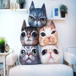 Sieste chat à vendre-40cm * 38cm 3D en forme de chat grincheux coussin visage coussin Coussin de voiture de personnalité d'animal de compagnie Coussin de chat créatif coussin Coussin de siège mignon LC438-1