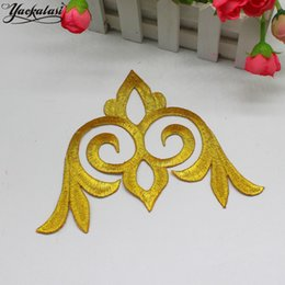 YACKALASI 20 Pieces Lot Gold Baroque Cosplay Costume Appliqued Flower Patches Iron on Embroidered Fabric Trims gold and silver 20*13cm