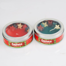 Wholesale 130g Essential Oil Bathroom Candles Natural Christmas Star Candles Wedding Party Decoration Tinplate Packed Colors