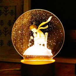 Wholesale The Little Prince D Led Creative Night Lamp Table Desk Light With Acrylic Panel Wooden Base USB Charger for Holiday Gifts