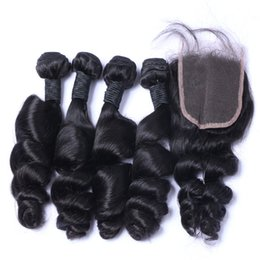 Hot Selling Loose Wave Unprocessed Brazilian Virgin Human Hair 4 Bundles Hair Weave With 1pc 4*4 Lace Closure Natural Color 8-26 inch