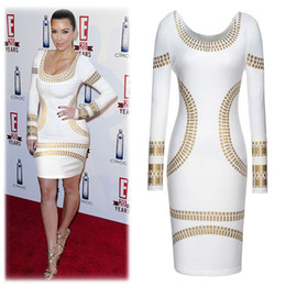 Acheter en ligne Robes bodycon kardashian-2017 Sexy Women Dress Fashion Kim Kardashian Robes longues à manches longues Office Sexy Slim Tight Nightclub Party Dress Plus Size XZ-26