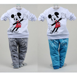 Wholesale Mickey Mouse Baby Clothes Suit Fashion Boys Sport Suit Children Sweater Pant Pieces Set Kid T Shirt Girls Suit Jersey Cotton