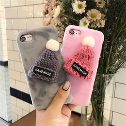 Wholesale Christmas Gifts iPhone Case Cute Plush Hat Back Phone Cover Handmade Stuffed Hat Protective PC Case For iPhone Plus S SE S