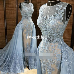 2019 Elie Saab Evening Dresses Detachable Overskirt Deep V Neck Illusion Blue-gray Pearls Beaded Lace Appliques Tulle Celebrity Prom Gown