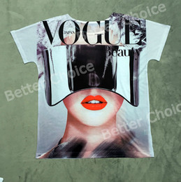 Wholesale Track Ship Vintage Retro T shirt Top Tee Vogue Shiny Glasses Fashion Model Beauty Girl with Red Lip White Tooth