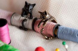 Fille chat cru en Ligne-Vintage anneau de chat à la main pour les femmes et les filles