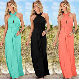 Wholesale The new speed sell through ebay hot style maxi elegant chiffon pure color cross wrapped chest off the shoulder dress skirt