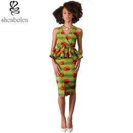 Shenbolen summer spring autumn 2017 african dresses for women wax printing batik ankara clothing sleeveless fashion dress free shipping