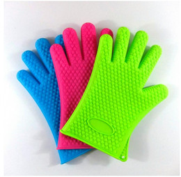 Wholesale Glove Heat Resistant BBQ Bake Silicone Gloves Oven Mitts Anti Slip Grip Best for Microwave Grilling and Baking Fingers Home Gloves Cooking