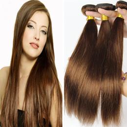 Descuento marrón recta armadura brasileña del pelo El pelo humano brasileño de la Virgen de Brown 8A recto 3 Bundles # 4 El pelo humano de Brown de la castaña el 100% del color teje extensiones Dhl libera
