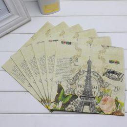 Descuento torre eiffel al por mayor del partido Venta al por mayor-P1524 flor de papel de la servilleta de papel mariposa festiva de la Torre Eiffel guardamapo decoración de las servilletas 20pcs / pack 33X33CM
