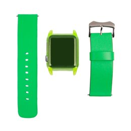 Fashion style multi colors PU leather watch straps wholesale for apple watch leather band with watch plastic cover Green color