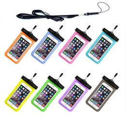 Wholesale Chinese Waterproof Cell Phone - Iphone 7 6 plus 5 Waterproof Case Samsung Galaxy s6 s5 Mobile Phones Waterproof Dry Cell Phone Water proof Neck Pouch Bags for i6 + Lanyard