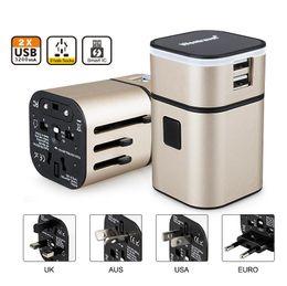 Convinient All in One Universal AU US UK EU Plug 5v 3a Adaptor 2 USB Port International World Travel AC Charger Adaptors