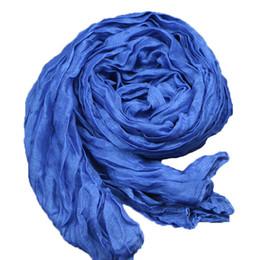 Promotion foulards en coton de marque de gros Grossiste-Mode 2016 Nouveau Denim Bleu Femmes hiver Coton Lin mélangé Solid Echarpes Foulards Fold Candy couleur Femme Echarpes